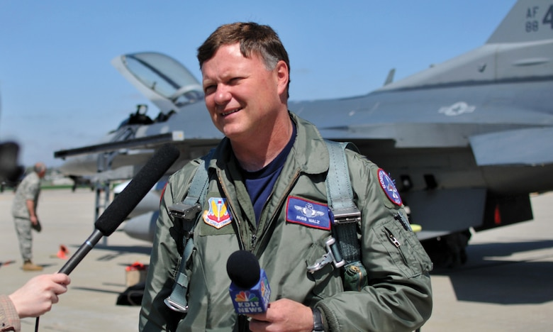 SIOUX FALLS, S.D. - Col. Russ Walz answers questions for the press after landing one of the two new Block 40 F-16s which arrived at Joe Foss Field on April 27. (Air Force photo by Capt. Michael V. Frye - released)