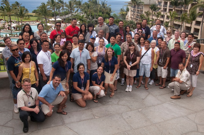 624th Regional Support Group Reservists, their families, headquarters staff and guest briefers gather together at a Yellow Ribbon event held at the Ritz-Carlton, Kapalua, Maui, in June. The event was for 624th Civil Engineer Squadron Reservists, who recently returned from deployment in Afghanistan in support of Operation Enduring Freedom, and their family members, as a part of their re-integration process back home. (U.S. Air Force photo/Master Sgt. Daniel Nathaniel)