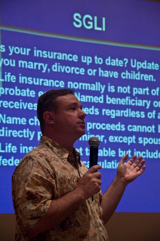 Lt. Col. David Lopina, Judge Advocate General, Hawaii National Guard, speaks about legal matters at a Yellow Ribbon event held at the Ritz-Carlton, Kapalua, Maui, in June. Colonel Lopina was one of many briefers who explained various rights and responsibilities for 624th Civil Engineer Squadron members who recently returned home from deployment in Afghanistan in support of Operation Enduring Freedom. (U.S. Air Force photo/Master Sgt. Daniel Nathaniel)