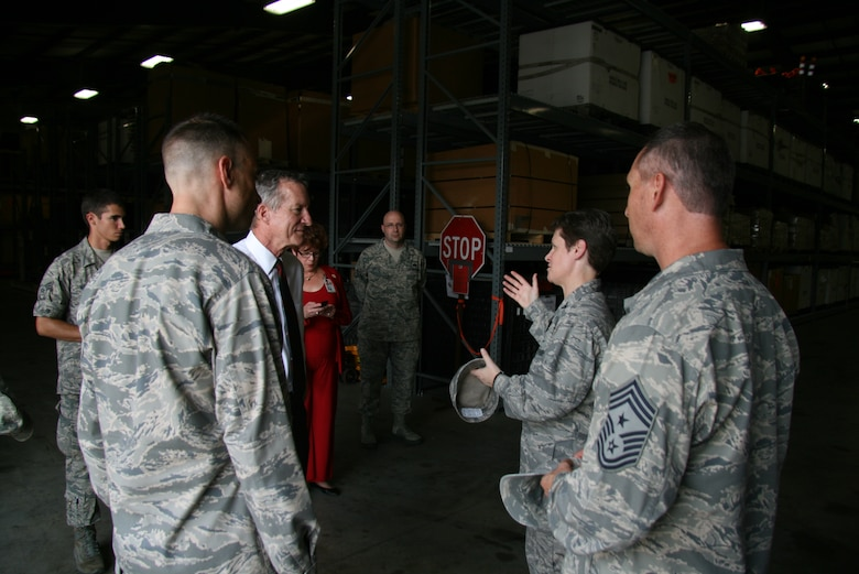 Col. Theresa Giorlando, 689th Combat Communications Wing commander talks with Congressman Jim Marshall, Georgia District 8 during a tour of the 5th Combat Communications Group's mobility warehouse. Congressman Marshall toured Robins AFB, Ga. and 5th CCG facilities. (US Air Force photo by 2nd Lt. Joel Cooke)