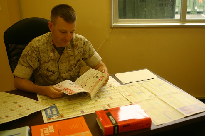 Capt. Paul T. Bartok, 31st Marine Expeditionary Unit supply officer, studies kanji characters in his office, July 19. The Bristol, Conn. native became fluent in Japanese culture through the Foreign Area Officer Program and plans to serve as a FAO in future billets. (Official Marine Corps photo by Cpl. Michael A. Bianco)