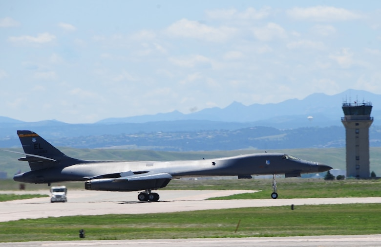 ELLSWORTH AIR FORCE BASE S.D. -- A B-1B Lancer takes off during a phase II operational readiness exercise, July 20.  The B-1's forward-wing settings are used for takeoff, landing, air refueling and in some high-altitude weapons employment scenarios. (U.S. Air Force photo/Airman 1st Class Anthony Sanchelli)