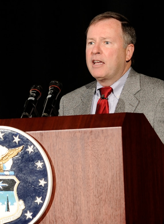 Congressman Doug Lamborn speaks at the 2009 Retiree Appreciation Day at the Air Force Academy Nov. 21, 2009. Congressman Lamborn represents Colorado's 5th District, which includes the Academy and Colorado Springs. (U.S. Air Force photo/J. Rachel Spencer)