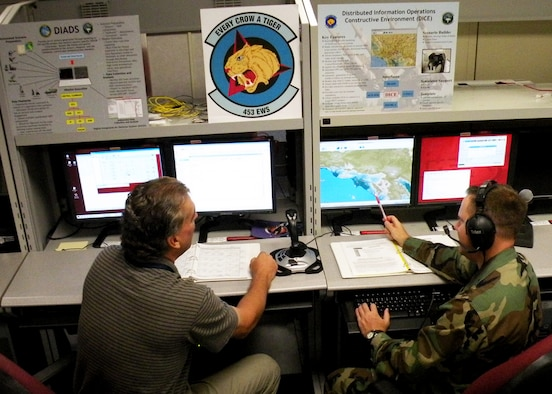 Members of the 453rd Electronic Warfare Squadron provide assistance during Virtual Flag. The squadron's mission is providing timely, tailored and vigilant electronic warfare analysis and support down range to joint and coalition warfighters.  The squadron, located at Lackland Air Force Base, Texas, is part of the 53rd Wing headquartered at Eglin. (Courtesy Photo)