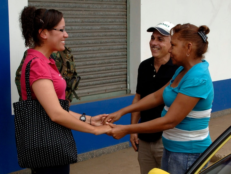 Senior Airman Sheryl Job (left) is reunited with her aunt and uncle June 11 in Felippio, Panama. The 25-year-old Panamanian native deployed from the 119th Wing in Fargo, N.D., to support New Horizons Panama 2010, and she was able to visit members of her family whom she had been separated from for 18 years.