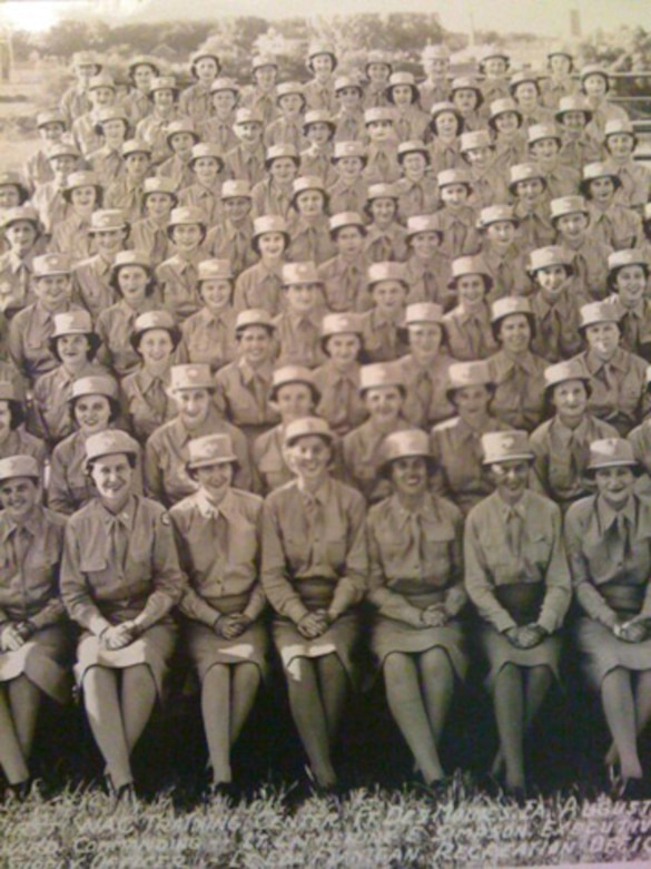 Bea Cohen pictured with her unit during basic training. She left a job at Douglas Aircraft Company as a riveter to join the Women's Army Corps during WW II. (Courtesy Photo)