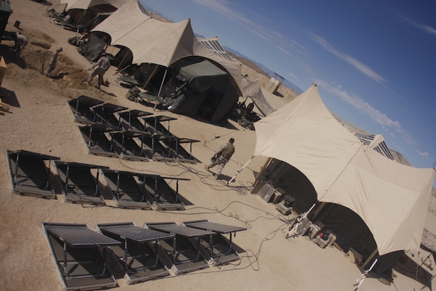 The Combat Center is currently the test grounds for the Marine Corps newest solar energy experiment. Third Battalion, 5th Marine Regiment, based out of Marine Corps Base Camp Pendleton, Calif., is currently utilizing solar energy panels to help reduce the need for supplies in the field.