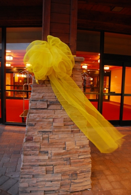 A yellow ribbon blows in the breeze outside the hotel in Gatlinburg, Tenn., during a Yellow Ribbon Reintegration Program, July 23-25.  (U.S. Air Force photo/J.D. Marckmann)