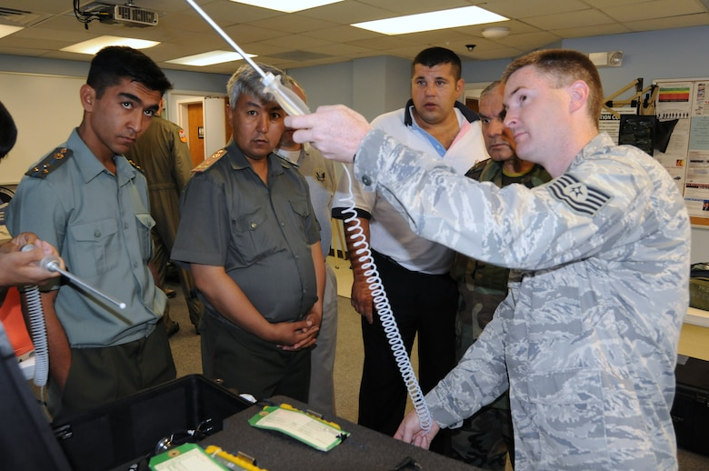 Tech. Sgt. Saul Davidson, Assistant Installation Emergency Manager, demonstrates how to use a Multi-Rae which detects a variety of toxic and combustible gases and oxygen levels before entering a potentially hazardous environment. Photo: Tech. Sgt. Aaron Vezeau 157th ARW-PA