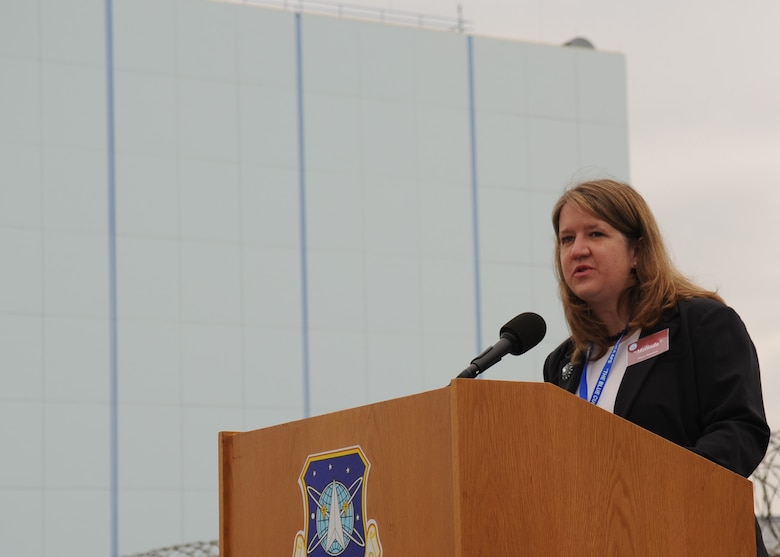 SUNNYVALE, Calif.-- Mayor Melinda Hamilton delivers a speech during the Onizuka Air Force Station closure ceremony here July 28, 2010. Built in 1960, Onizuka AFS was originally known as the Air Force Satellite Test Center. It was selected for closure by the Base Closure and Realignment Commission in 2005, with the recommendation to move operations to Vandenberg Air Force Base, in order to consolidate satellite command and control operations while reducing excess infrastructure.  (U.S. Air Force Photo/Senior Airman Bryan Boyette)