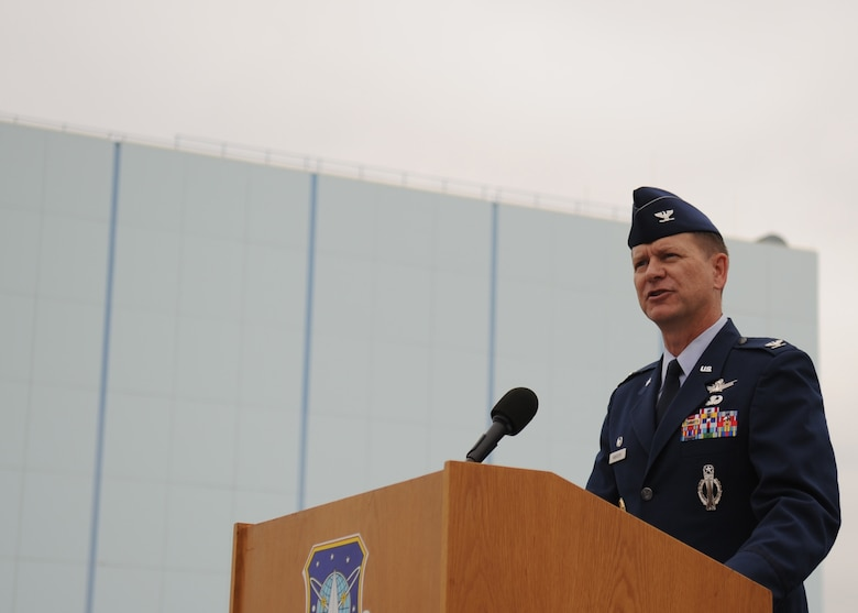 SUNNYVALE, Calif.-- Col. Wayne Monteith, the 50th Space Wing commander, delivers a speech during the closure ceremony of Onizuka Air Force Station here, Wednesday, July 28, 2010. Built in 1960, Onizuka AFS was originally known as the Air Force Satellite Test Center. It was selected for closure by the Base Closure and Realignment Commission in 2005, with the recommendation to move operations to Vandenberg Air Force Base, in order to consolidate satellite command and control operations while reducing excess infrastructure. (U.S. Air Force Photo/Senior Airman Bryan Boyette)