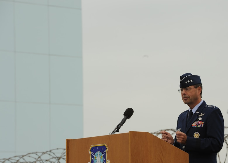 SUNNYVALE, Calif.-- Lt. Gen. John T.Sheridan, commander of the Space Missile Center, Los Angeles Air Force Base, delivers a speech at the closure ceremony of Onizuka Air Force Station here, Wednesday, July 28, 2010. Built in 1960, Onizuka AFS was originally known as the Air Force Satellite Test Center. It was selected for closure by the Base Closure and Realignment Commission in 2005, with the recommendation to move operations to Vandenberg Air Force Base, in order to consolidate satellite command and control operations while reducing excess infrastructure.(U.S. Air Force Photo/Senior Airman Bryan Boyette)