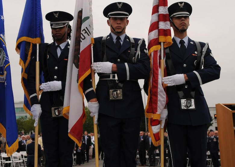SUNNYVALE, Calif.-- The Travis Air Force Base Honor Guard team traveled here to post the colors during the closing ceremony of Onizuka Air Force Station here, Wednesday, July 28, 2010. Built in 1960, Onizuka AFS was originally known as the Air Force Satellite Test Center. It was selected for closure by the Base Closure and Realignment Commission in 2005, with the recommendation to move operations to Vandenberg Air Force Base, in order to consolidate satellite command and control operations while reducing excess infrastructure. (U.S. Air Force Photo/Senior Airman Bryan Boyette)