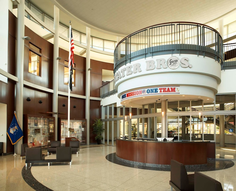 In the massive headquarters lobby are two displays: one about the history of Stater Brothers markets and another devoted to Capt. Leland Norton. A museum curator designed the exhibit, in which Norton's captain's bars, medals, letters, his Bible, photographs, and other artifacts. The lobby also houses the flag pole once used at Norton AFB.