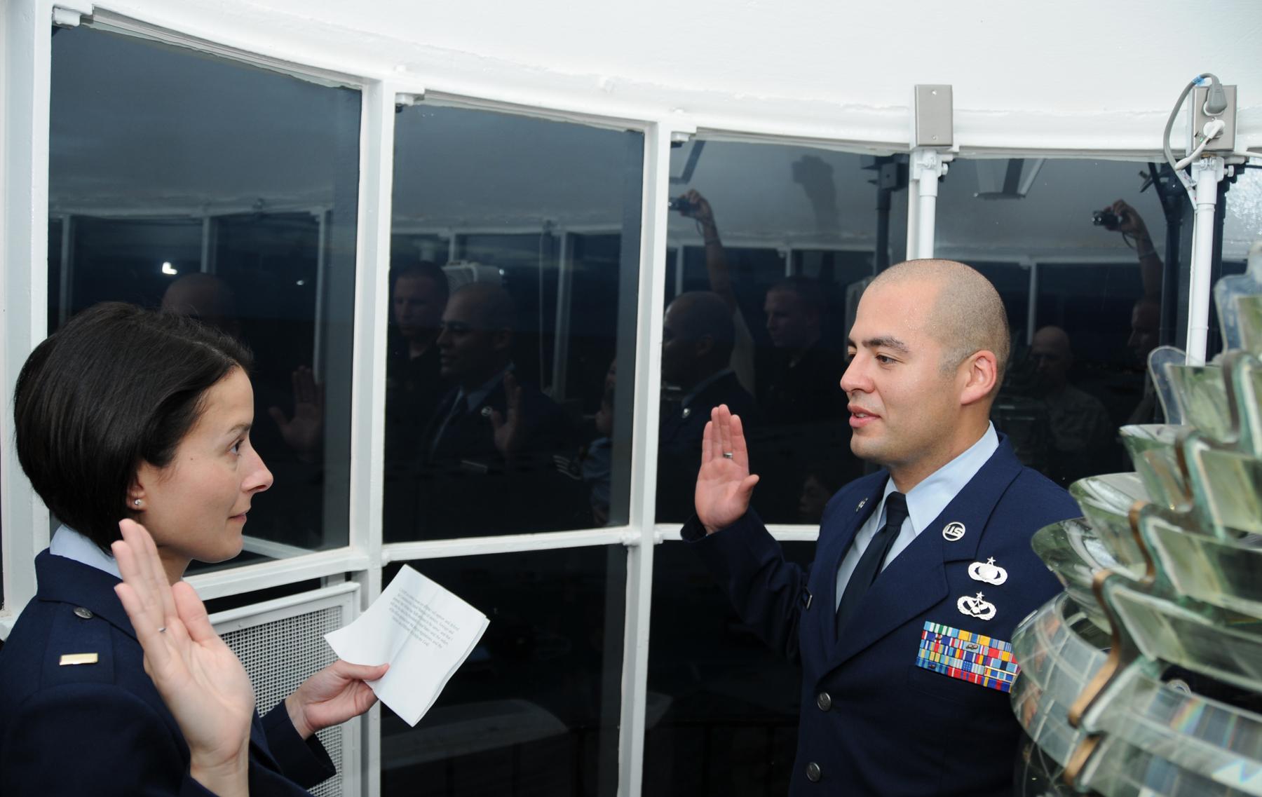 Airman Reenlists At Biloxi Lighthouse Keesler Air Force Base