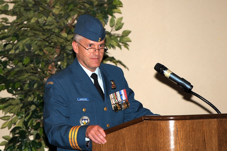 Lt. Col. Patrick Carpentier took command of the 552nd Air Control Wing Canadian Component during a ceremony here recently. Colonel Carpentier comes from commanding the 12th Radar Squadron, tactical mobile radar. (Air Force photo by Megan Davis)