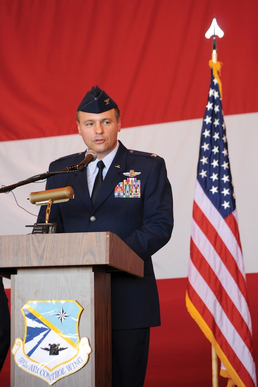 Col. Gregory Roberts took command of the 552nd Operations Group July 22. Colonel Roberts is an Oklahoma native from Edmond and an OSU grad. (Air Force photo by Kelly White)