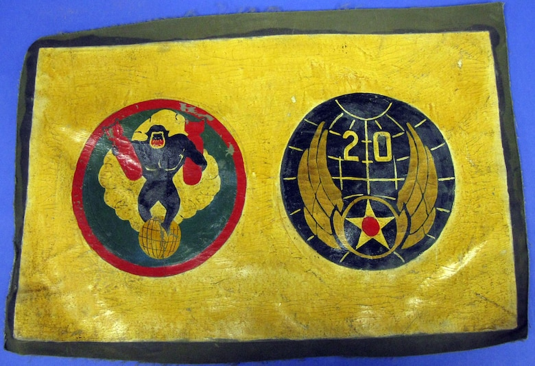 The painted fabric insignia represents the 870th Bombardment Squadron, which was part of the 20th Air Force, XX Bomber Command, 73rd Bomb Wing, 497th Bomb Group. The unit flew B-17s and later B-29s and saw combat in the Western Pacific from Nov. 1, 1944, through Aug. 14, 1945. The unit was disbanded on March 31, 1946. The item belonged to 1st Lt. Robert Harris. (U.S. Air Force photo)