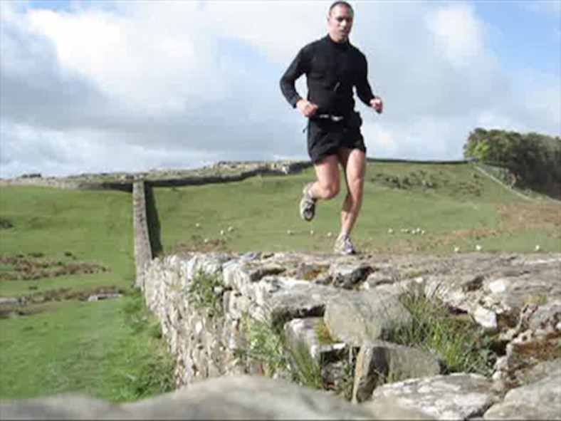 Capt. Danny Franz, 67th Special Operations Squadron, runs the Hadrian's Wall Path May 14. Hadrian's Wall itself is 73 miles long, but the path stretches for 84 miles. It runs along a riverside route in Tyneside, through farmland in Tynedale, Northumberland, and gradually descends to the pastures of Cumbria, before finally ending at the salt marshes of the Solway Estuary. Captain Franz ran the wall in 19 hours and 24 minutes, beating the unofficial record of just over 23 hours. (Courtesy photo)