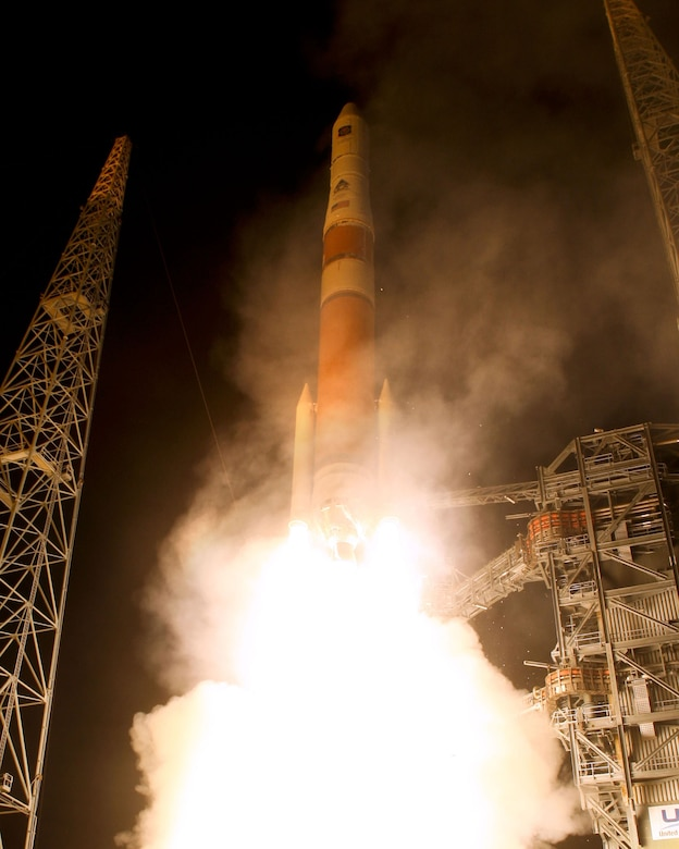 A Delta IV Rocket lifts off from Pad 37B at Cape Canaveral Air Force Station, Fla. carrying the newest addition to the GPS constellation. GPS IIF-1 will be the first of a new block of GPS satellites to be launched. (Photo by Pat Corkery, ULA)
