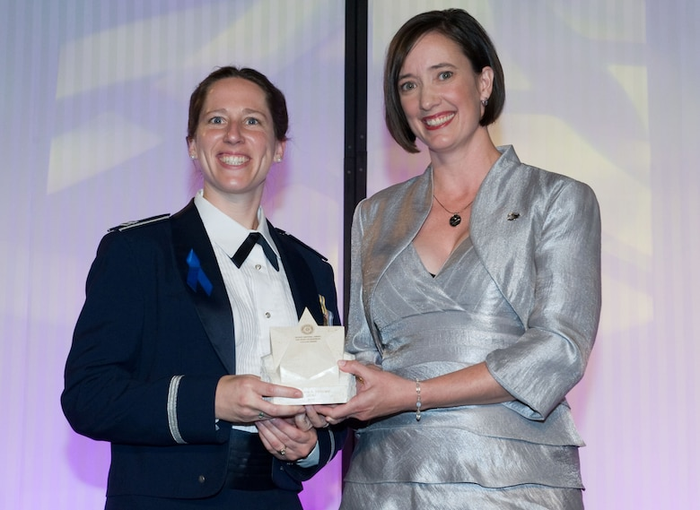 Capt. Gina Peterson, Global Positioning Systems Wing, is the recipient of an individual award from the Rotary National Award for Space Achievement Foundation for her work on the atomic clocks that will be aboard the next generation of GPS III satellites. (Courtesy photo)