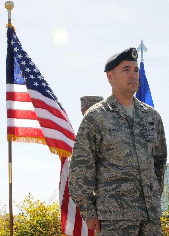 Capt. Thomas Maranda, the former 129th Security Forces Squadron operations officer, is assuming command of the 129th SFS from Col. Charles Ingalls, the 129th Mission Support Group commander May 1, 2010 at Moffett Federal Airfield, Calif. Colonel Ingalls temporarily held command of Security Forces while Captain Maranda was at technical training to become the SFS commander. (Air National Guard photo by Staff Sgt. Kim Ramirez)