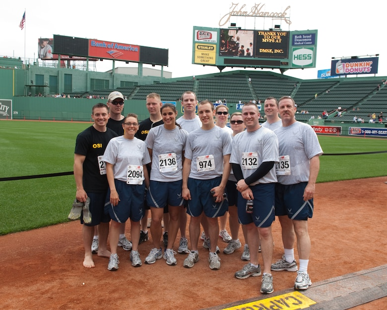 BOSTON – Runners representing Team Hanscom pose after the race.  (U.S. Air Force photo by Rick Berry)