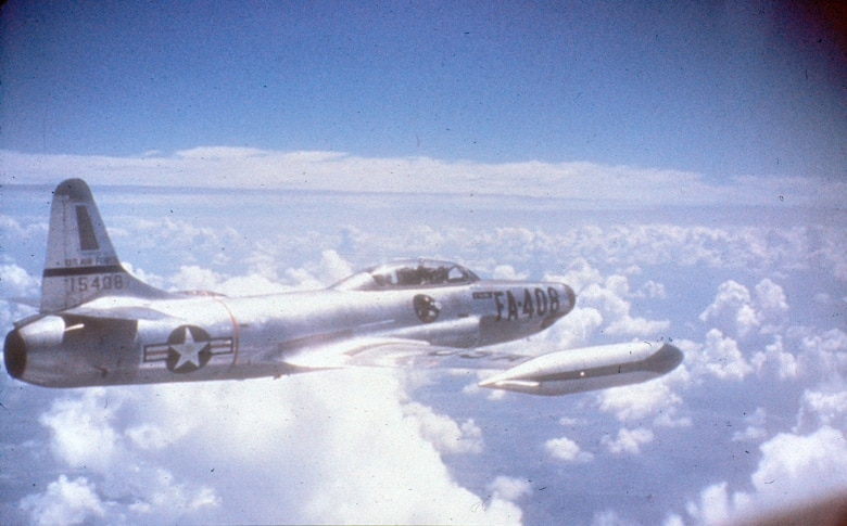 The F-94B replaced the propeller-driven F-82G and protected both Korea and Japan from night attacks. F-94 pilots also escorted B-29s on night raids against North Korea. (U.S. Air Force photo)