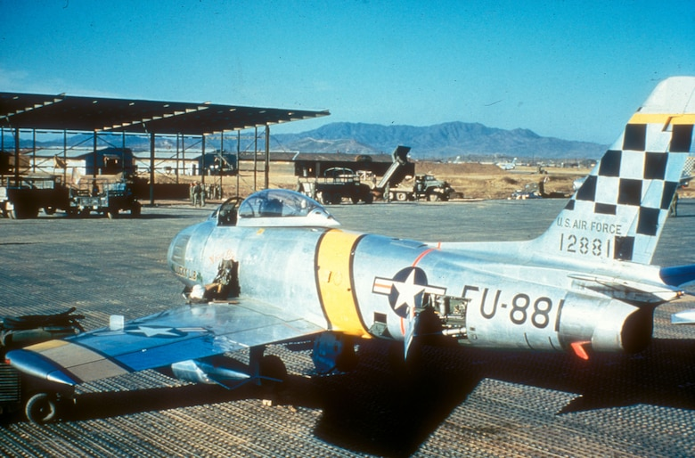51st Fighter-Interceptor Wing F-86s, like the one pictured here, had black checkerboard tails. (U.S. Air Force photo)