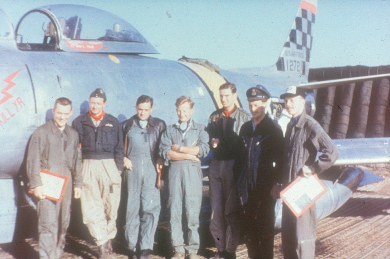 F-86 fighter pilots at Suwon Air Base in Korea. (U.S. Air Force photo)