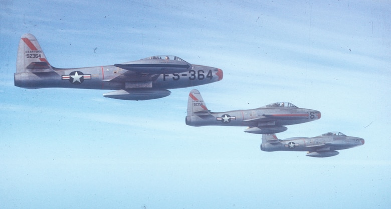 F-84s of the 27th FEG. Unfortunately, the straight-wing F-84 was not as capable as the swept-wing MiG-15 in air-to-air combat.  Still, the F-84 saw widespread use as an effective ground attack aircraft in Korea. (U.S. Air Force photo)