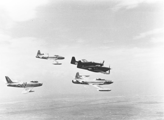 In June 1950 the USAF's primary day superiority fighter in the Far East was the straight-wing jet F-80 (upper left). The propeller-driven F-82 (upper right) was the primary night fighter. The faster, swept-wing F-86 Sabre (lower left) took over the day fighter role from the F-80 in late 1950, while the jet-powered F-94 (lower right) replaced the F-82 in 1951. (U.S. Air Force photo)