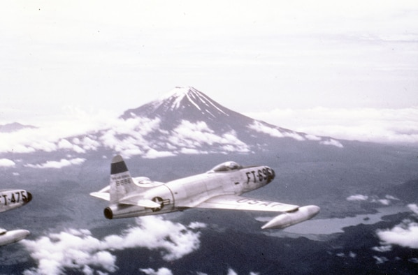 The museum's F-80C, pictured here, was based in Japan with the 8th Fighter-Bomber Group at the beginning of the Korean War, and it flew some of the earliest combat missions. (U.S. Air Force photo)