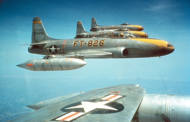The F-80C was more than a match for the propeller-driven fighters of the North Korean Air Force but suffered from short range when flying from Japanese air bases. (U.S. Air Force photo)