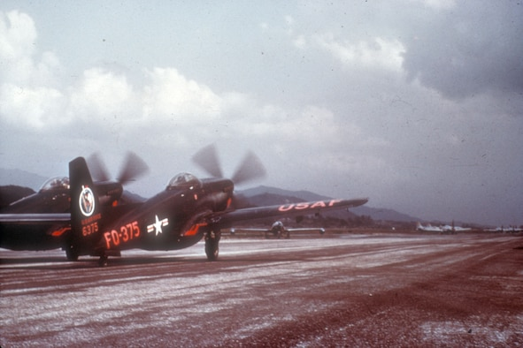 "F-82G taking off from a rough airstrip in Korea. Although aviation engineers finished the first hard runways by the end of 1951, many of the ""K"" bases remained unpaved until the closing months of the war. (U.S. Air Force photo)"