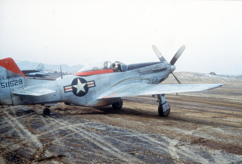 The World War II-era F-51D initially fought the North Korean Air Force, but it was primarily used as a ground attack aircraft during the Korean War. (U.S. Air Force photo)