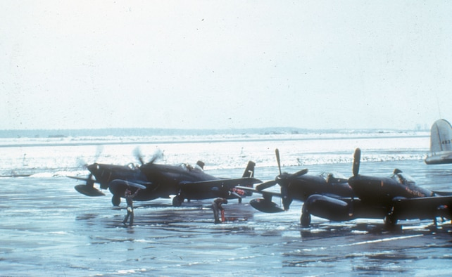 All-weather F-82G fighters at an air base in Japan. The USAF was forced to base some of its fighter units in Japan when communist forces overran South Korean bases in 1950 and 1951. (U.S. Air Force photo)