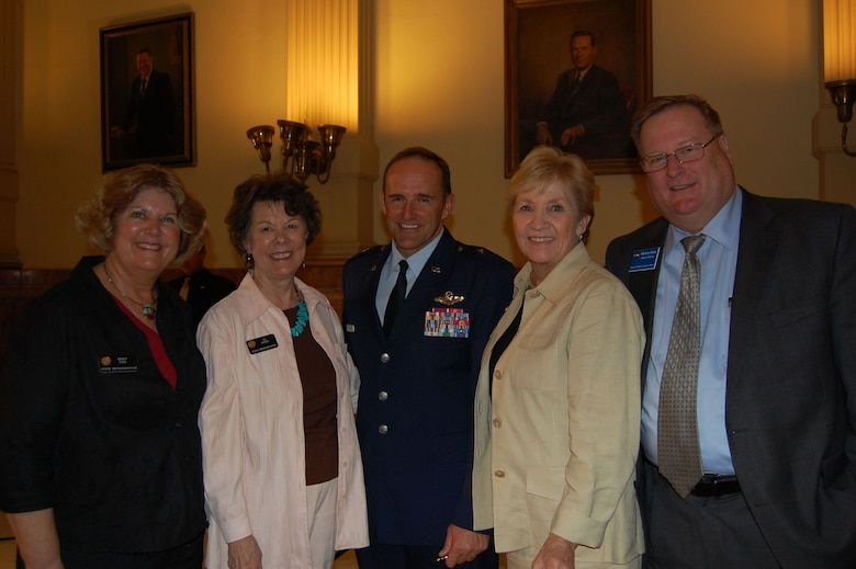"""(From left to right) Rep. Nancy Todd, Rep. Su Ryden, Brig. Gen. Trulan Eyre, Sen. Nancy Spence and Michael Hunt worked through the course of the legistative session to make House Bill 1201 a reality for Colorado. """"This is a great day for the military installations across states,"""" said Brig Gen. Trulan Eyre, 140th Wing Commander."""