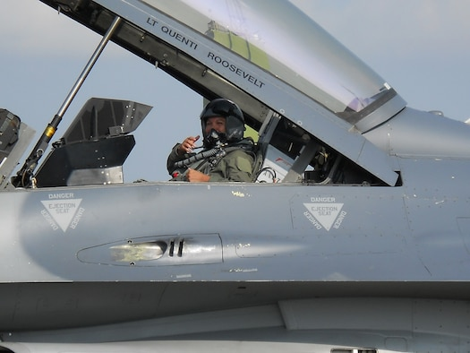 Staff Sgt. Alicia Valenzuela, 51st Maintenance Squadron, prepares for an incentive flight during a previous assignment to Paya Lebar Air Base, Singapore. Sergeant Valenzuela was recently selected to join the U.S. Thunderbirds team.