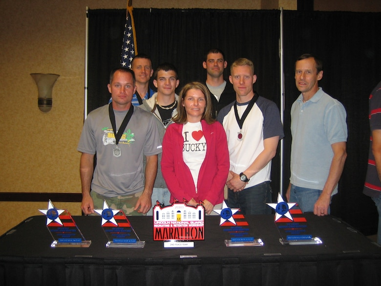 Wisconsin National Guard Marathon Team, after finishing second overall at the 2010 National Guard Lincoln Marathon Championships on May 1, 2010.  This was the best finish for the Wisconsin team since winning the overall title in 1988.