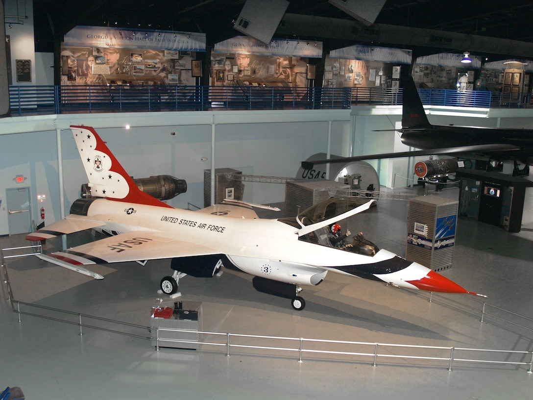 A former Thunderbirds F-16 is displayed at the Museum of Aviation in Warner-Robins, Ga. (Courtesy photo)