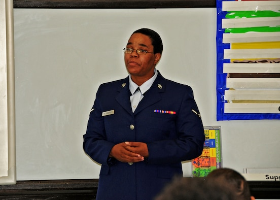 Rising Six member Airman Maria Hechabarria of the 914th Airlift Wing tells students of the Buffalo School of Technology about basic military training, June 8, 2010, Buffalo NY. As part of their community involvement members of the Rising Six talk to students on how the Air Force has made a positive change in their life. (U.S. Air Force photo by Staff Sgt. Joseph McKee)