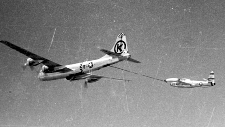 OPERATION HIGH TIDE, which saw the first aerial refueled strike missions, began in May 1952 when twelve F-84Es flew non-stop from Japan to bomb targets in North Korea. In the same year, aerial refueled FOX PETER operations began flying F-84s non-stop across the Pacific. (U.S. Air Force photo)