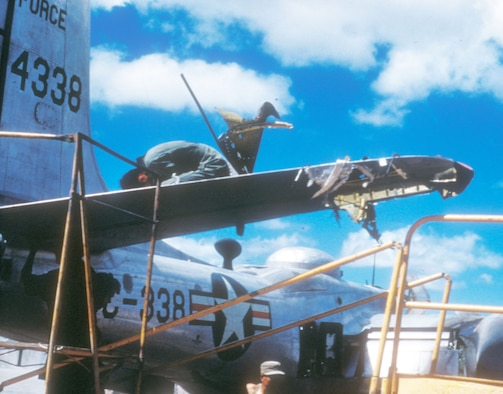 Ground crews worked night and day to repair damaged aircraft. (U.S. Air Force photo)