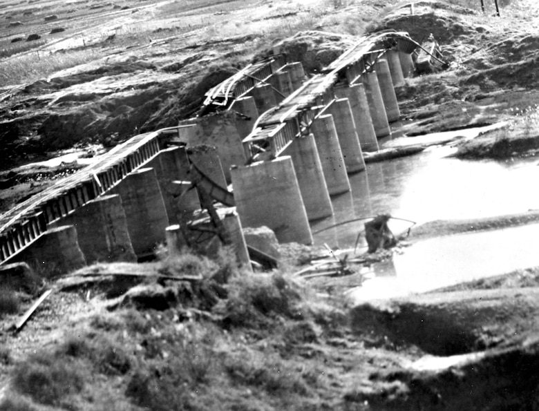 USAF light bombers destroyed this railroad bridge north of Pyongyang, North Korea. (U.S. Air Force photo)