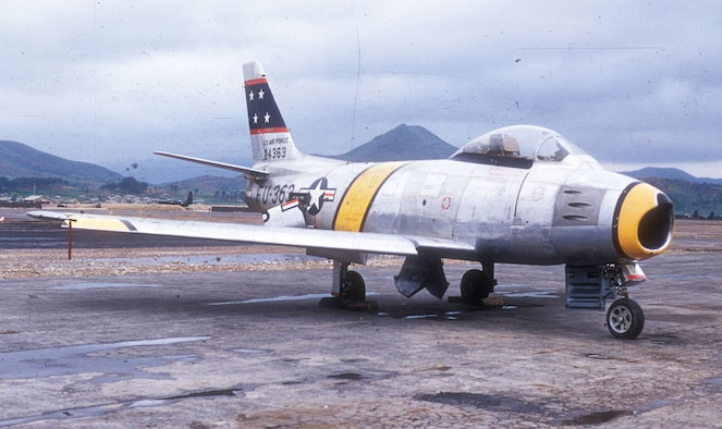 The ground-attack version of the Sabre, the F-86F, arrived in Korea in 1953. (U.S. Air Force photo)