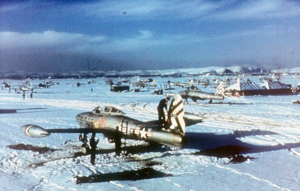 Entering service in Korea in December 1950, the F-84 became an important interdiction aircraft. (U.S. Air Force photo)