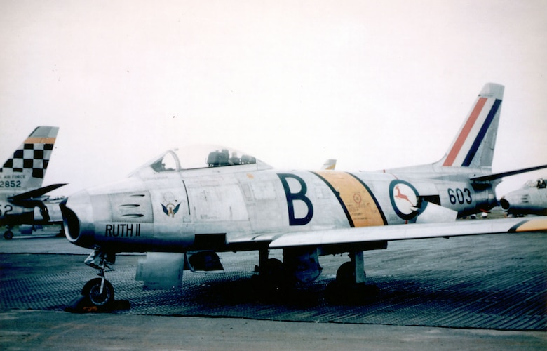 The South African Air Force's 2nd Squadron transitioned from F-51s to the F-86F while attached to a USAF fighter-bomber wing. (U.S. Air Force photo)