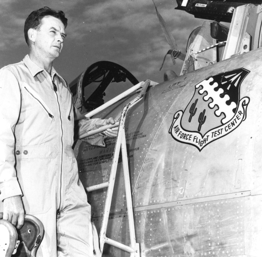 Col. Jackie L. Ridley, while stationed at Edwards in the 1940s.  (Official Air Force photo)