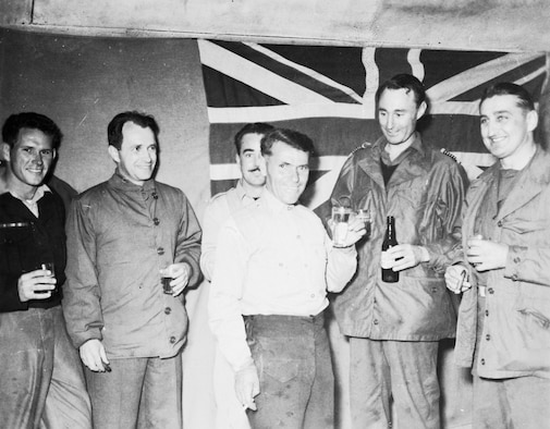"Col. Francis ""Gabby"" Gabreski (far right) with members of the Royal Australian Air Force No 77 Squadron. Gabreski was the commander of the F-86-equipped 51st Fighter-Interceptor Wing, and an ace in World War II and in Korea. (U.S. Air Force photo)"